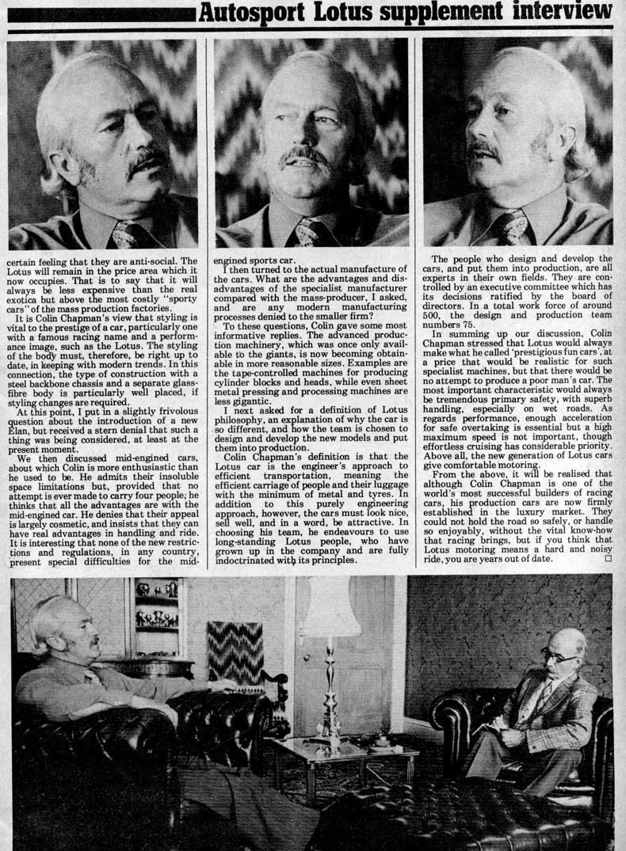 Colin Chapman Interview 1977